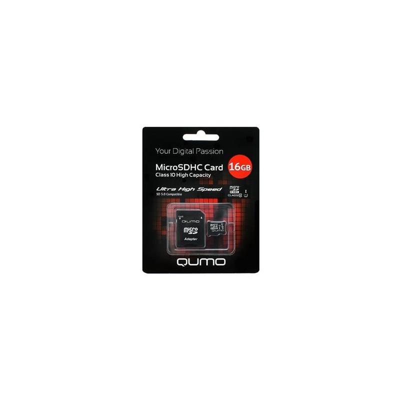 Карта памяти MicroSDHC 16Gb Qumo Class10 SD adapter UHS-I