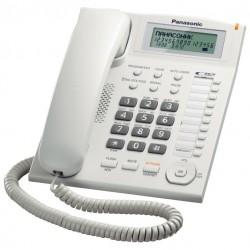Телефон Panasonic KX-TS2388 RUW повторн.набор/тон.набор/настен.установка/память-50н/быстр.набор-20кн/АОН/спикерфон/блокировка набора номера/отключение микрофона/удержание линии/дисплей/часы/календарь/разъем гарнитуры