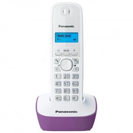 Радиотелефон Panasonic KX-TG1611 RUF,белый-сиреневый 1трубка/50м/300м/АОН/книга 50номеров/-/-/-/15-170ч/550мАч