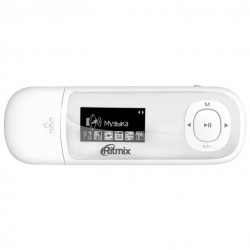 "MP3 плеер RITMIX RF-3450 4Gb Белый (1"",FM,диктофон,MP3,WMA,WAV,MicroSDHC до 16Gb,до 10ч,клипса)"