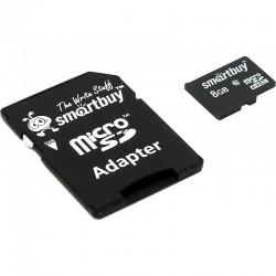 Карта памяти MicroSDHC 8Gb SmartBuy Class10 [SB8GBSDCL10-01] (SD адаптер)