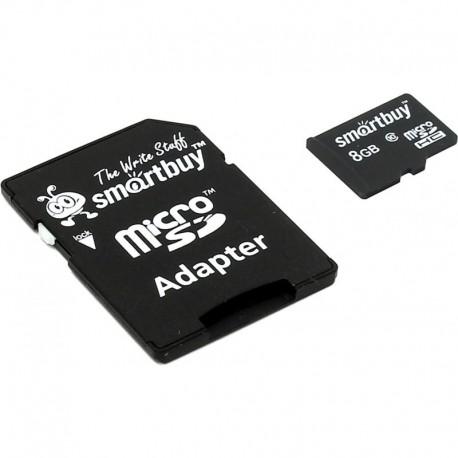 Карта памяти MicroSDHC 8Gb SmartBuy Class10 SD adapter SB8GBSDCL10-01