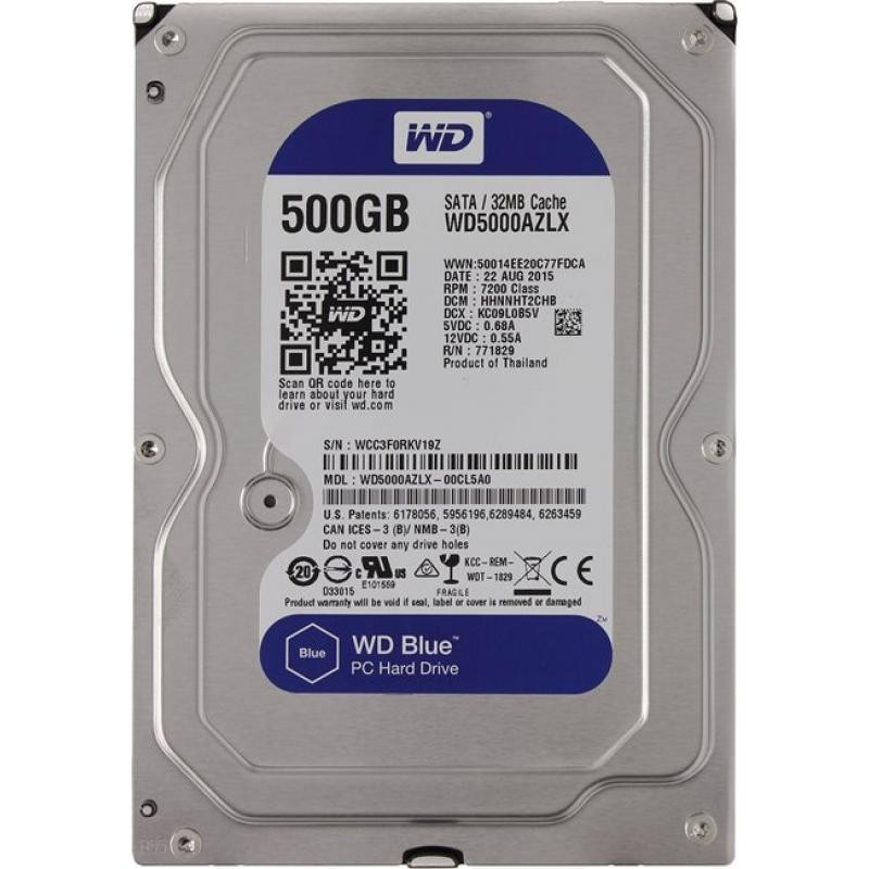 Жесткий диск HDD SATA-III  500Gb WD WD5000AZLX Blue,7200,32Mb