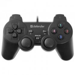 Геймпад Defender Omega проводной, для РС, виброотдача, 12 кнопок, 2 стика, кабель 1.8м, Black