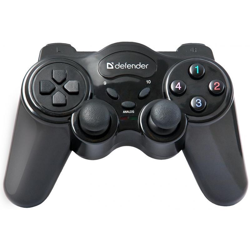 Геймпад Defender Game Master беспроводной, для РС, виброотдача, 10кнопок, 2стика, радиус 10м, Black