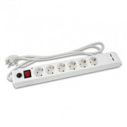 Сетевой фильтр 5м Buro BU-SP5 USB-2A-W 6 розеток белый +2 USB 1*2A 1*1A