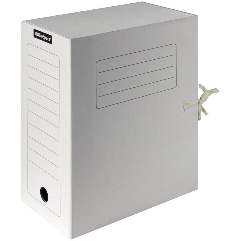 Короб архивный 15см. Спейс с завязками, белый (225437)