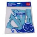 Набор чертежный DELI 3 предм., пластик, гибкий (E6204)