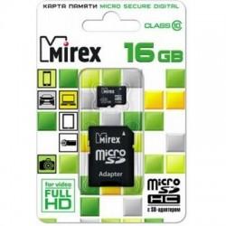 Карта памяти MicroSDHC 16Gb Mirex Class10 [13613-AD10SD16] (SD адаптер)