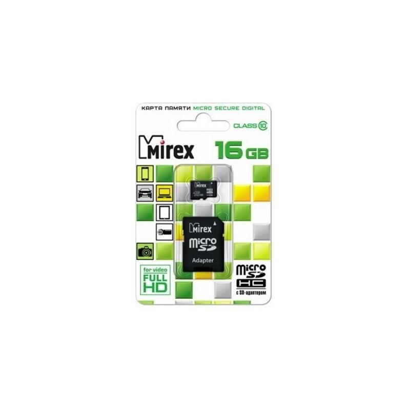 Карта памяти MicroSDHC 16Gb Mirex Class10 SD adapter (13613-AD10SD16)