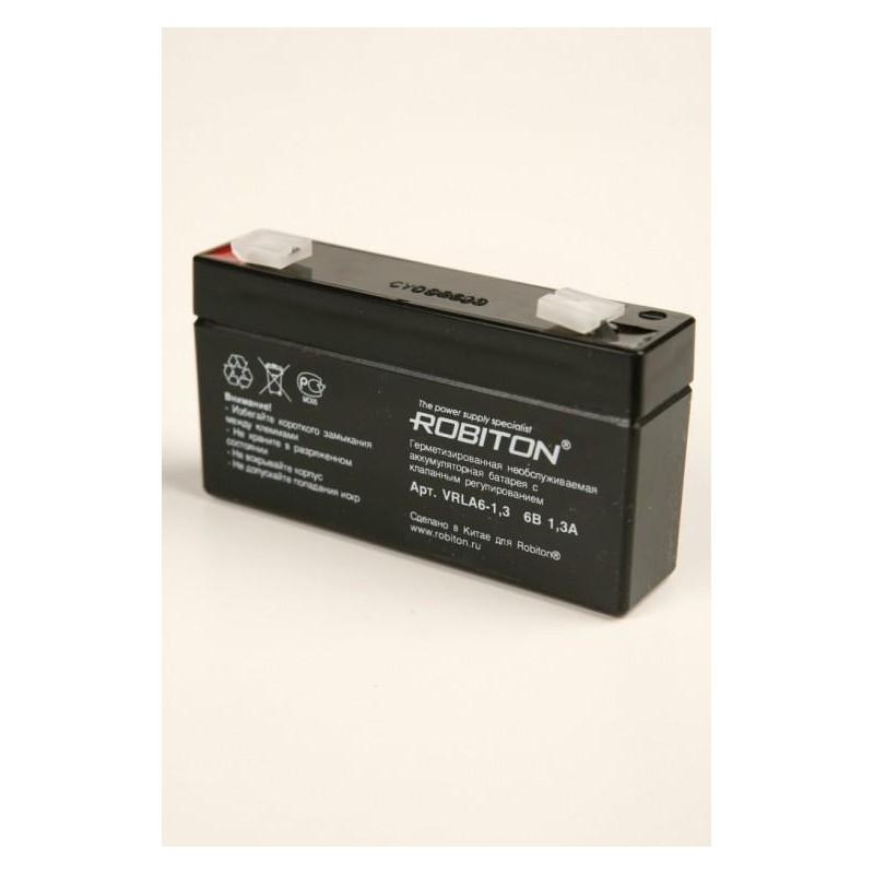 Аккумулятор свинцовый Robiton VRLA6-1.3 6в 1.3Ah 97x24x51мм