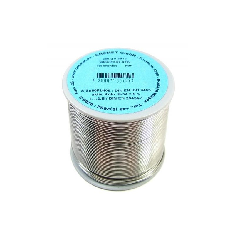 Припой CHEMET (112/TZ-40) 3мм флюс Kap-T серебро (250гр) Sn96Ag4, 221°C