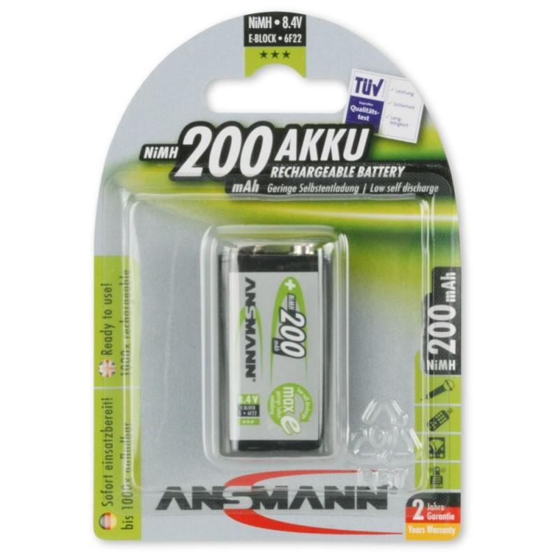 Аккумулятор Ni-MH 6F22 ANSMANN maxE 200mAh 8.4в, низкий саморазряд