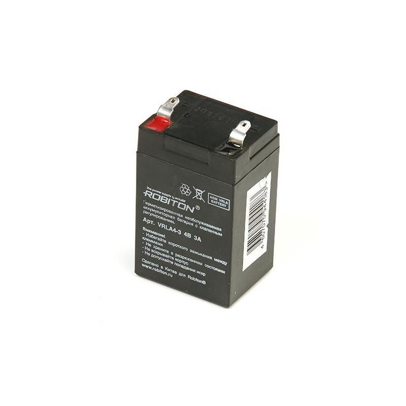 Аккумулятор свинцовый Robiton VRLA4-3 4в 3Ah,  48,2х38,4х81мм