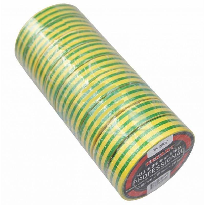 Изолента Rexant Professional /19мм х 20м/ желто-зеленая 0,18мм