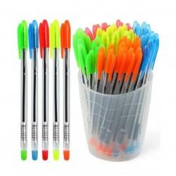 """Ручка шариковая СТАММ """"VeGa Neon"""" синяя, ассорти 0.7мм.  (РШ100)"""