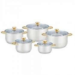 Набор посуды Bekker BK-2596 Jumbo 10пр,нерж.сталь,кастр.:2.1л/16см,2.9л/18см,3.9л/20см,2*6.5л/24см