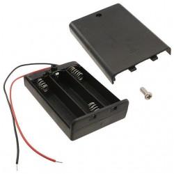 держатель батарей SBH-331AS/AA, 3х1, закрытый, выключатель, гибкие выводы