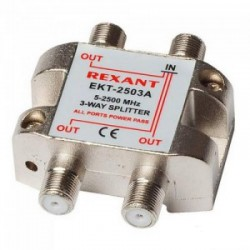 Делитель сигнала на 3 TV REXANT ETK-2503A /5-2500Мгц//проход питания