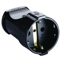 Розетка электрическая MAKEL 10053/кабельная, земля, черная