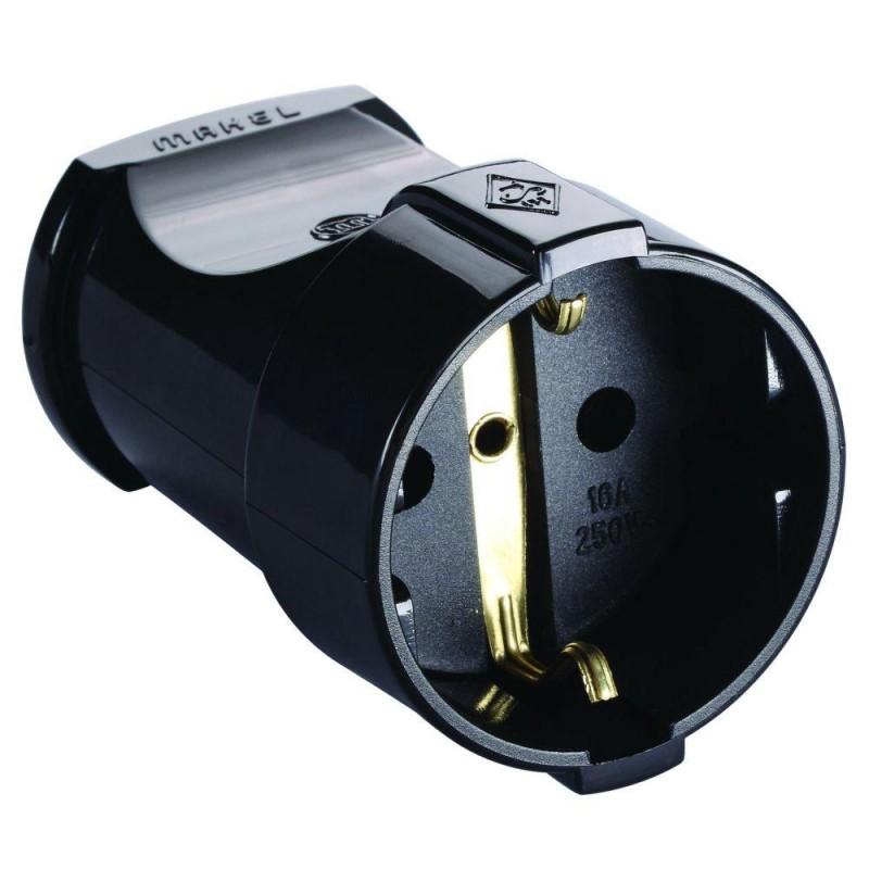 Розетка электрическая MAKEL 10053 кабельная, земля, черная