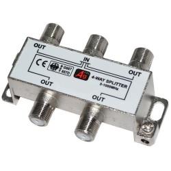 Делитель сигнала на 4 TV REXANT /5-1000Мгц/ + 5 F гайки GOLD