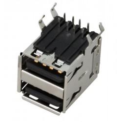 Гнездо USB A-FRx2/на плату, угловое, сдвоенное