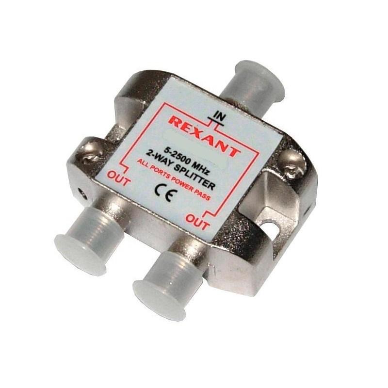 Делитель сигнала на 2 TV REXANT /5-2500Мгц/ спутниковое,с проходным питанием