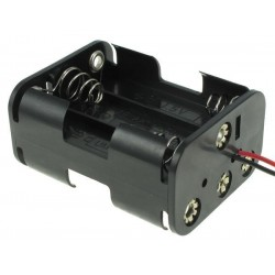 держатель батарей BH-363/АА, 3х1+3х1, 63х23х56мм, гибкие выводы