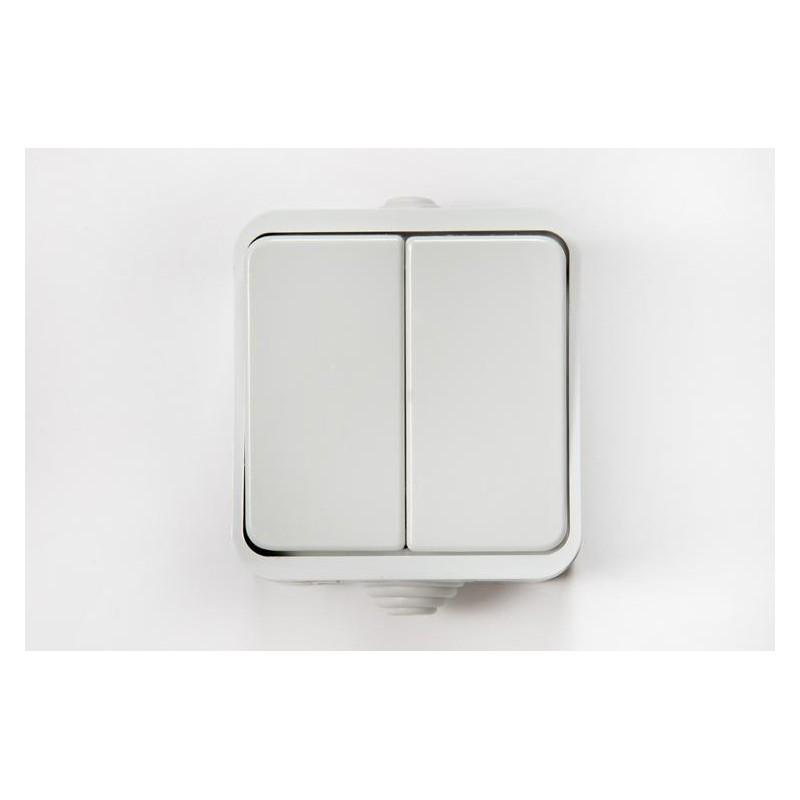 Выключатель ASD ACQUA 3200 двухклавишный 220в, 10А, В/У