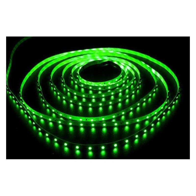 лента светодиодная 3528/60-12-G зеленый, 12в, 60шт/м, 4.8вт/м