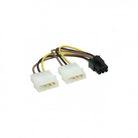 Кабель питания для подключения видеокарт 15см 2хMolex->PCI-Express 6pin