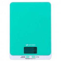 Кухонные весы Kitfort КТ-803-1 Green электронные, стекло, макс. 5кг, точность 1г, авто вкл/выкл