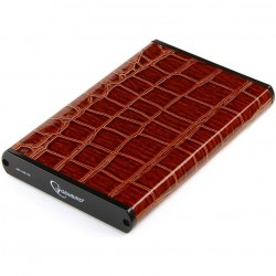"""Внешний бокс для HDD 2.5"""" USB 3.0  Gembird EE2-U3S-70L-BR коричневый,металл+кожзам"""