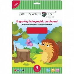 Картон цветной А4 Greenwich Line 4л. гравюрный 4 цвета (Ehc4-07695)