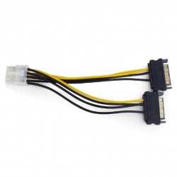 Кабель питания для подключения видеокарт 2xSATA->PCI-Express 8pin Cablexpert CC-PSU-83