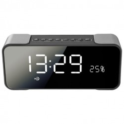 Портативная акустика Ginzzu GM-884B 10Вт, Bluetooth, FM, microSD, AUX, LCD, часы, 2 будильника, Silver