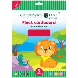 Картон цветной А4 Greenwich Line 5л. бархатный 5 цветов (Fc4-07690)