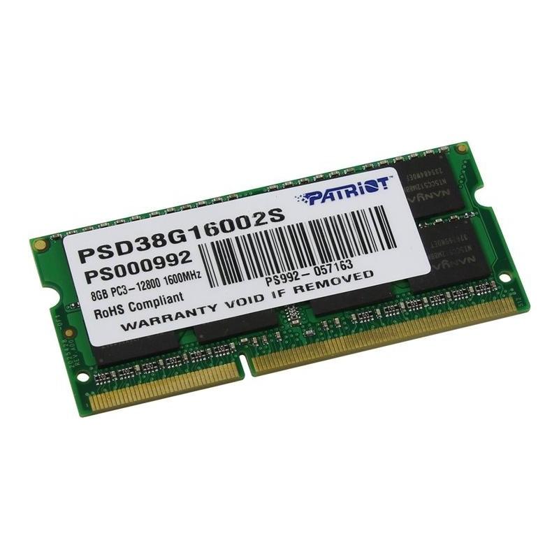 Модуль памяти SO-DDR3 8192Mb PC12800/1600MHz Patriot PSD38G16002S