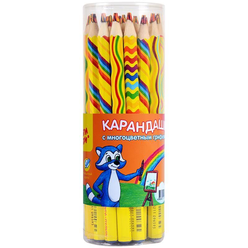 """Карандаш Мульти-Пульти """"Енот и радуга"""" с многоцветным грифелем, утолщенный, CP 11659"""
