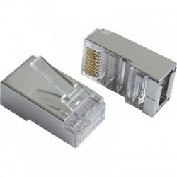Коннектор - RJ-45 5E уп 10шт Gembird/Cablexpert PLUG5SP/10 экранированные, покрытие 30 мкд