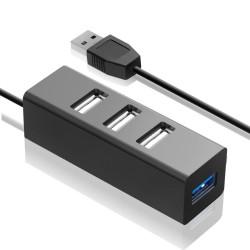 USB Хаб 4xUSB 2.0 Ginzzu GR-339UB черный (1xUSB 3.0 + 3xUSB 2.0)