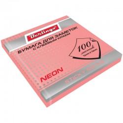 Блок самоклеящийся BERLINGO 76*76мм. 100л. неон розовый (HN7676RN) (103935)