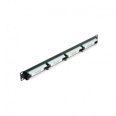 """Патч-панель NETLAN EC-URP-24-UD2 19"""", 1U, 24 порта, Кат5e, RJ45/8P8C, 110/KRONE неэкран, черная C420"""