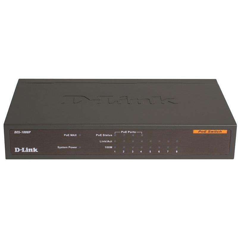 Коммутатор D-Link DES-1008P 8-port 10100 Mbps 4 port PoE (до 15.4 Вт на каждом порту)