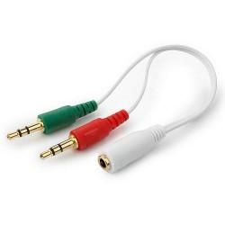 Кабель аудио 3.5дж 4 Pin (F)-3.5дж наушники (M) + 3.5дж микрофон (M) Cablexpert CCA-418W 20см белый