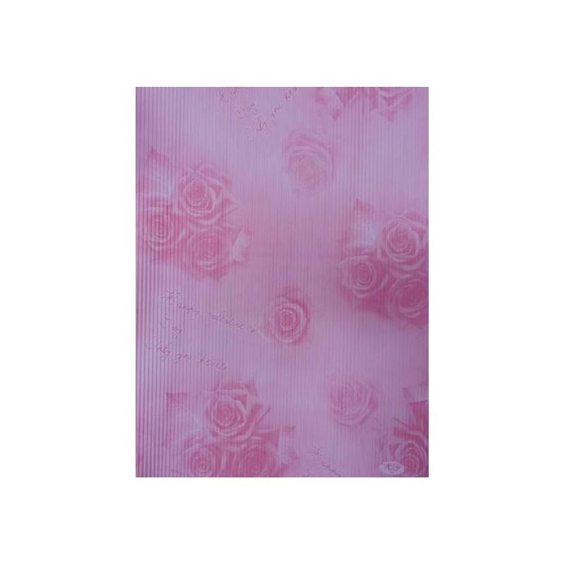 """Бумага упаковочная подарочная гофрированная 50*70 """"Розы на розовом"""""""