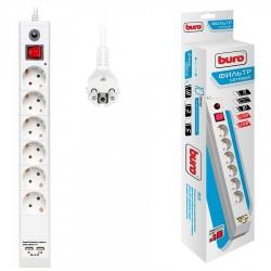 Сетевой фильтр 1.8м Buro BU-SP1.8 USB 2A-W 6 розеток белый +2 USB*2A