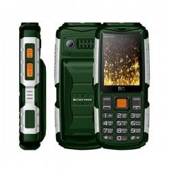 """Сотовый телефон BQ BQ-2430 Tank Power Green+Silver (2sim/2.4""""/240*320/32Mb/microSD/0.3Мп/Bt/4000мАч)"""