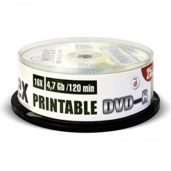Диск DVD-R 25шт Mirex 4.7Gb 16x Cake box printable inkjet (UL130028A1M)